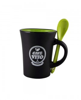 Black/green mug - green spoon - 250ml
