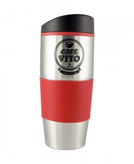 Stainless steel/red coffee cup - 500ml