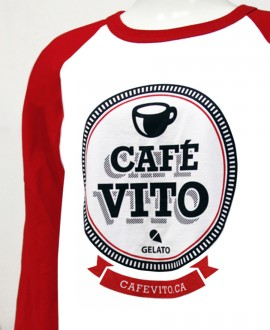 T-shirt - White - Red Long Sleeves